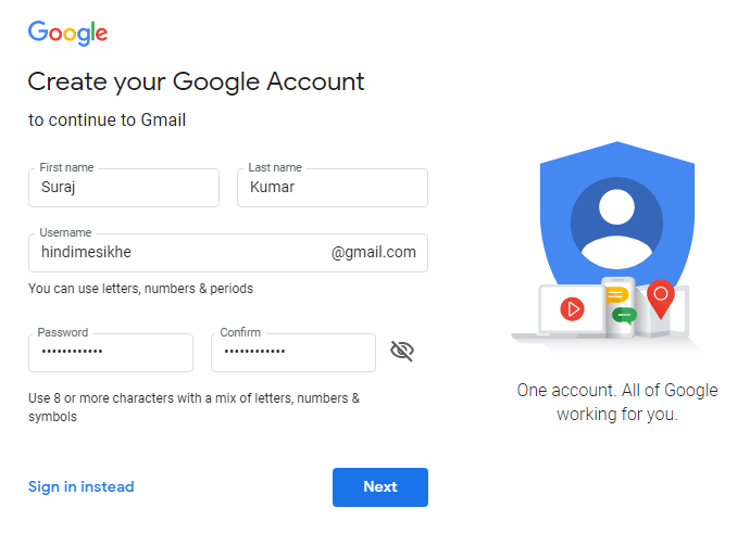 gmail account creation
