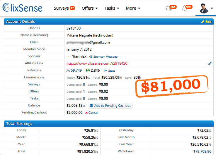 clixsense earning proof